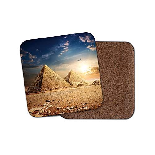 /Pyramid Coucher de soleil Dessous-de-verre/ Ensemble de 4/ //Égypte /égyptien pyramides de Gizeh Cadeau # 8472