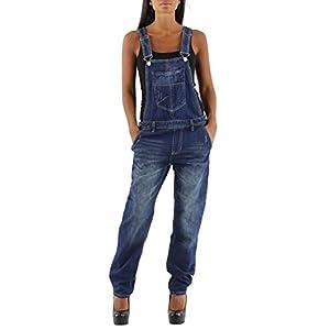 si moda Damen Jeans Hose Baggy Boyfriend Latzhose Latzjeans Jumpsuit Overall Hüftjeans