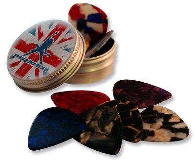 12 Pearlescent Guitar Plektrons In Custom Printed Stash Tin (Thin (0.43mm))