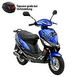 Roller GMX 550 Mokick 45 km/h blau 2,4 KW / 3,3 PS / Luftgekühlt / Alufelgen / Gepäckträger / Scheibenbremse / Teleskopgabel Hydraulisch / ab 16 Jahren