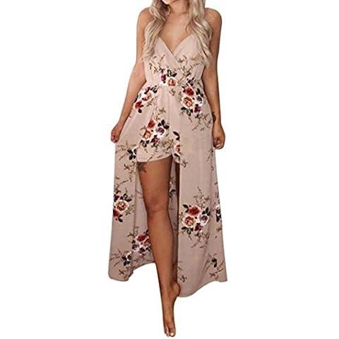 DAYLIN Women Summer Sleeveless Flower Party Jumpsuit Playsuit Beach Trousers (S)