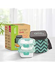 Allo FoodSafe Microwave Safe Glass Lunch Box with Break Free Detachable Lock | 450°C Oven Safe High Borosilicate | Office Tiffin with Chevron Mint Bag | Set of 2