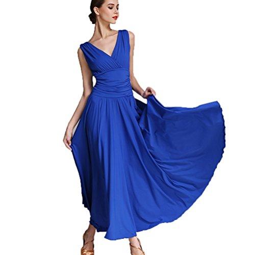 V-Ausschnitt Nationaler Standard Ballroom Tanzkleid für Frauen Temperament Übungskleid Trikot Modern Walzer Tango Tanzen Performance Kostüm, Treasure Blue, ()