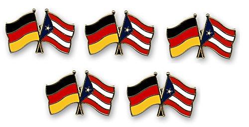5er Pack Deutschland - Puerto Rico Freundschaftspin Yantec Pin Flagge -