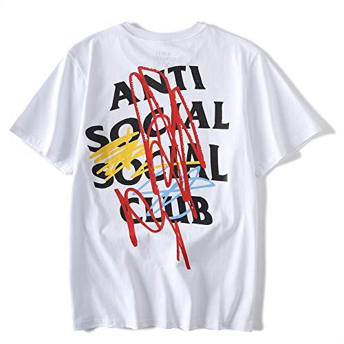 QYS Antisoziales Social Club Kanye West ASSC T-Shirt,White,M