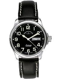 Zeno Watch Basel Pilot Basic 12836DD-a1 - Reloj de caballero automático con correa de piel negra
