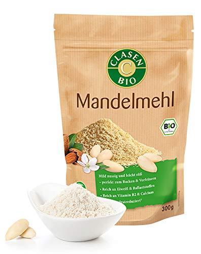CLASEN BIO Mandelmehl - 3x300g, fein gemahlen, von Natur aus vegan und glutenfrei, biologischer Anbau