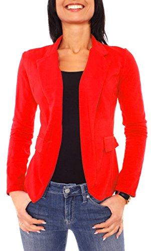 Damen Sommer Sweat Jersey Blazer Jacke Sweatblazer Jerseyblazer Sakko Kurz Ungefüttert Langarm Uni Einfarbig Rot S - 36 (M)