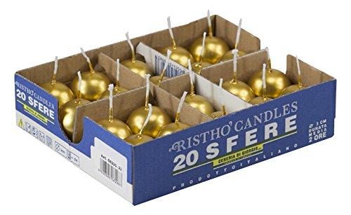 Velas bola, cera, dorado, 3x 3x 3cm, 20Unidad