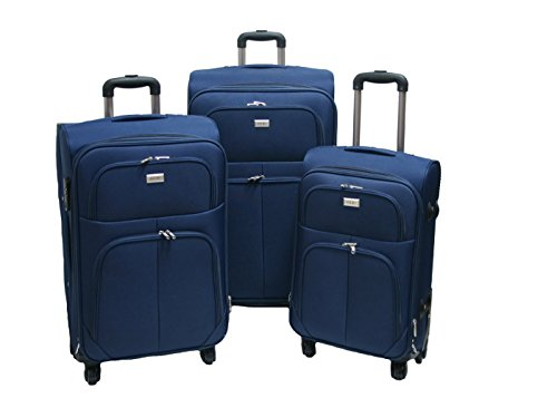 Trolley valigia set valigie semirigide set bagagli in tessuto super leggeri 4 ruote piroettanti trolley piccolo adatto per cabina con compagnie lowcost art.214 (Blu)