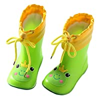 QINJLI Baby rain shoes anti-skid male and female children Princess cute Four Seasons Universal Frog Elephant Rabbit Duck cartoon