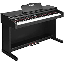 SUNCOO Clavier LCD Digital Piano 88 touches avec 3 pédales, adaptateur et USB/MIDI, Noir