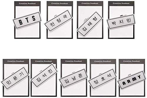 Christ For Givek Kpop BTS Abzeichen Name Kreative Brosche Abzeichen PVC für Kinder und Mädchen Bekleidung Tasche Dekoration 3X7.5CM - H10-9pcs