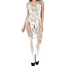 UMIPUBO Lingerie Sexy Dentelle Ensemble Lingerie Femme sous-vêtements Body Dentelle Fleurs Vêtements de Nuit Ouvert Crotch Nightwear (blanc2)