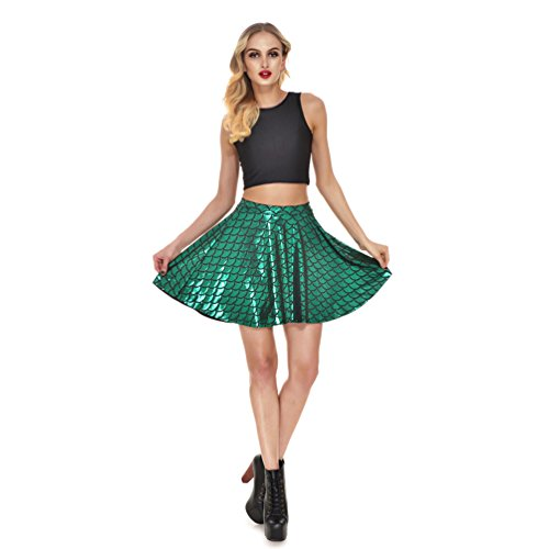 Lesufit Shiny Fish Scales Mermaid Skirt Scallop Swing Pleated Bling Bling Mini Skater Skirts for Women S-4XL