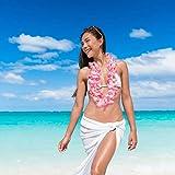 Relaxdays decoraz Set di 10 Hawaiane Waikiki, Collane Aloha, Feste di Addio al Nubilato/Celibato, Carnevale, Decorazione Costumi, Stile Caraibico, Rosa, Poliestere, Pink, 93 cm