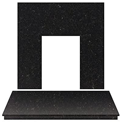 Adam Fireplace Back Panel and Hearth Set in Black Granite, 48 Inch