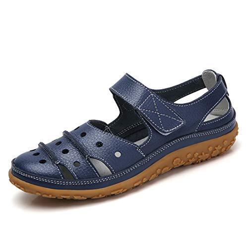 Z.SUO Sandali Donna in Pelle Piatti Casual Moda Mocassini Loafers Scarpe da Guida Estivi Travel Infradito Sandali(40 EU,Blu Navy)