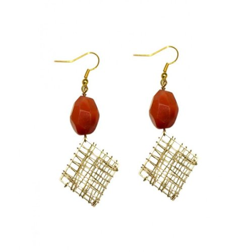 Gemstone Wire Mesh Hook Earings