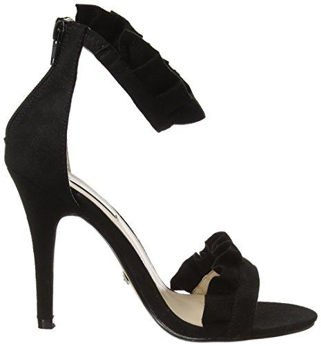 Quiz Black Frill Barely There, Sandali con Cinturino alla Caviglia Donna Black (Black)