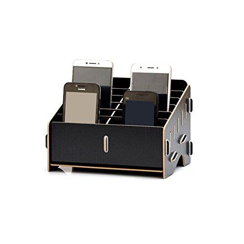 gement-Aufbewahrungsbox Kreative Desktop-Office-Meeting-Veranstalter Klassenzimmer Visitenkarte Multi-Handy-Halter(Ahorn, Kirschholz, Schwarz KT Katze) ()