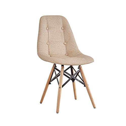 Lil sedia da pranzo in legno massello in legno massello nordico + schienale staccabile in tessuto con schienale trapuntato sedia per il tempo libero (colore : cachi, dimensioni : 82 * 40 * 50 cm)