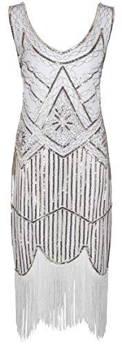 Ro Rox 1920er Jahre Great Gatsby Kleid - Weiß (S - 36) (Billig Flapper Kleid)