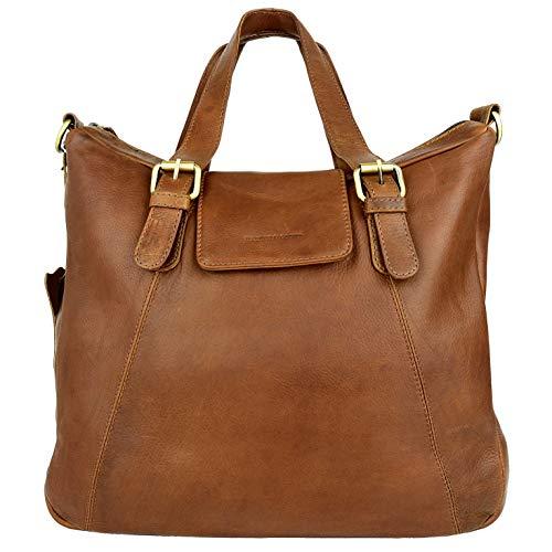 Canvas Leder Hobo Bag (HARLEE & SCOTT Leder-Handtasche Damen Shopper Hobo-Bag Umhängetasche Henkeltasche Echtleder HS331)