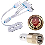 Elevea 4in1 Cable Multi USB Charging Cable With 8 Pin Lighting / 30 Pin/Micro USB/Type C Ports With Metal Dual USB Port 2 Amp Fast Car Charger For All Smartphones