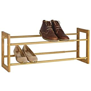 Lakeland Extending & Stackable Wood-Effect Shoe Rack - Holds up to 10 Pairs