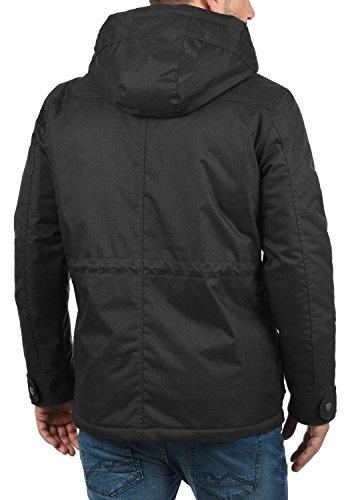 SOLID Bellippo Herren Winterjacke Lange Jacke Parka mit Kapuze aus hochwertigem Material, Größe:M, Farbe:Black (9000) - 3