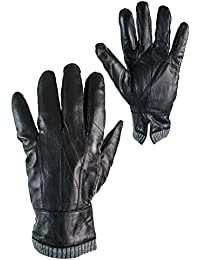 Mens Real Leather Winter Gloves Thermal Lined Warm Driving Gift Touch Screen