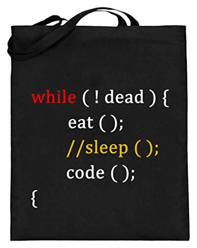 �r Coder und Programmierer - Jutebeutel (mit langen Henkeln) -38cm-42cm-Schwarz ()