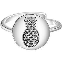 QIANDI Divertido anillo de plata redondo de piña para frutas, anillo ajustable para regalo de mujer