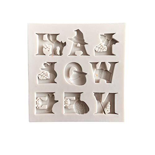 lyward 9-Buchstaben-Fondant Aus Flüssigem Silikon Für Halloween, 2Er-Pack (Halloween 9 Buchstaben)
