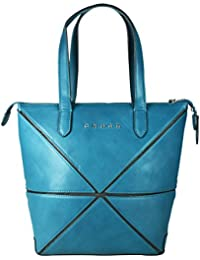 Cross Women's Genuine Leather Origami Big Collapsible Hand Bag (Jeans Blue)