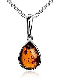 61bbfd244c Collana con ciondolo a goccia, in ambra e argento sterling, catenina da 46  cm