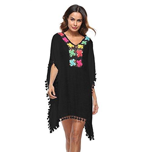 Robe Tunique De Plage Coton Fluide Transparente en 6 Colories Taille Unique Idéal Pour La Plage Femme (Black)