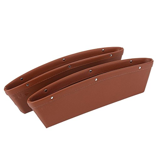 Car Seat Gap Filler PU Leather Car Console Gap Filler Side Seat Pocket Organizer Car Seat Side Drop Caddy Catcher Brown Car Interior Accessories Stop it before Drop Pack of 2