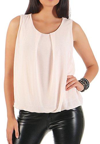 Malito Damen Bluse ärmellos   Tunika mit Rundhals   leichtes Blusenshirt   Elegant - Shirt 6879 (rosa)
