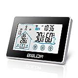 TEKFUN Wetterstation Funk mit Außensensor, Digital Thermometer Hygrometer Ihnen und Außen, Wanduhr mit licht und Touchscreen -