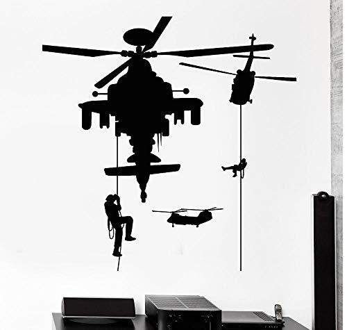 Wandaufkleber DIY kreative PVC kunst aufkleber soldat militär krieg hubschrauber kunst wohnzimmer aufkleber familie wasserdicht vinyl geschenk wohnkultur büro schlafzimmer kinderzimmer 57x57CM