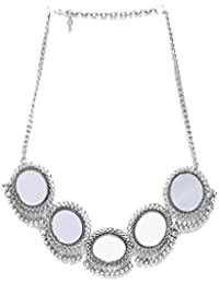NAWAB Silver Oxidised Long Afgani Boho Art Mirror Necklace for Women