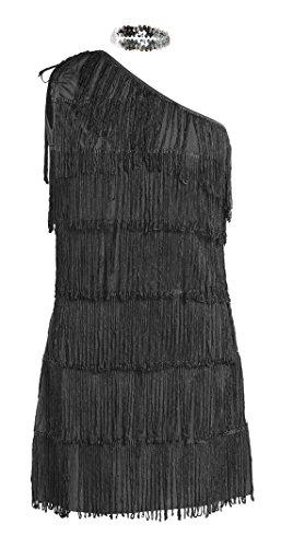 Schickes 20er Flapper Kostüm von Emma's Wardrobe – Enthält schwarzes Fransenkleid, Haarband und weiße Federboa – Flapper Kostüm für Halloween und Auftritte – Hohe Qualität – Größen 36-44