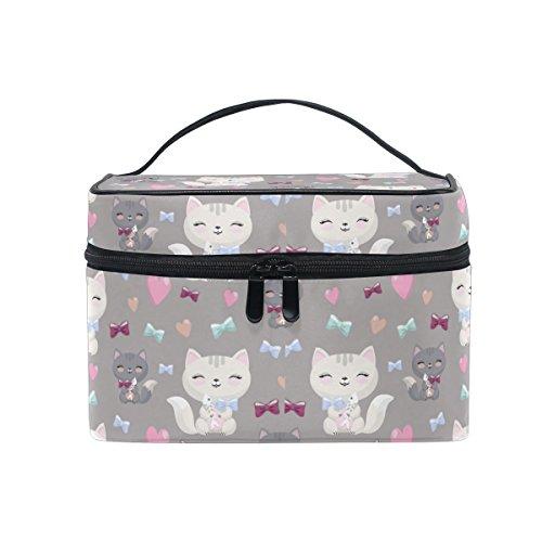 Make-up Tasche, cute Cat Kitten Print Kosmetik Kulturbeutel Aufbewahrung Organizer Fall Große Reise Griff personalisierbar Tasche mit Fächern für Mädchen Frauen Lady