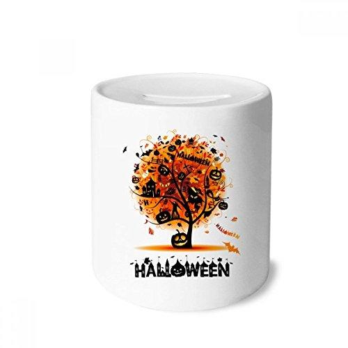 DIYthinker Halloween-Karikatur-Baum-Muster-Geld-Kasten Sparkassen Keramik Münzfach Kinder Erwachsene 3.5 Zoll in Height, 3.1 Zoll in Duruchmesser Mehrfarbig