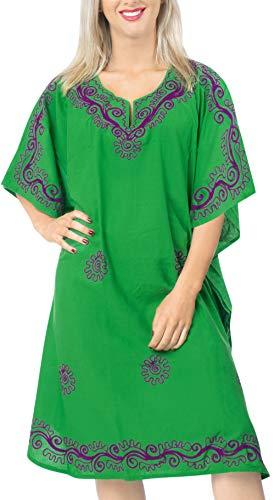 LA LEELA Frauen Damen Rayon Kaftan Tunika Bestickt Kimono freie Größe kurz Midi Party Kleid für Loungewear Urlaub Nachtwäsche Strand jeden Tag Kleider Grün_X552 -