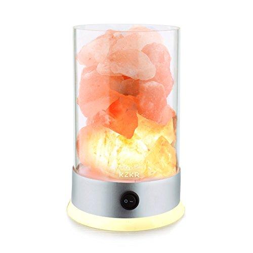 Lampada di sale dell' himalaya kzkr naturale terapeutico sale dell' himalaya cristallo roccia, yoga lampada christmas 'gift 1.4kg con retroilluminazione base 2lampadine 12v rosa arancione moderno natural light pink