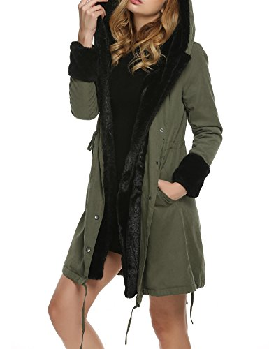 cooshional Damen Mantel Winter Übergangsjacke Parka Wintermantel Fell Warm Hooded Armeegrün