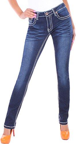 BD Damen Straight Leg Jeans Jeanshose mit dicken Nähten 44XXL Dunkelblau
